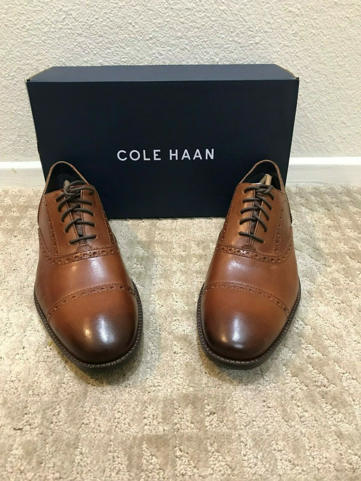 Cole Haan Wayne Cap Toe, British Tan Decorative Perforation Size 11.5M C30689