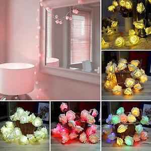 20 Led Lichterkette Batterie Rose Blumen Hochzeit Party Valentinstag
