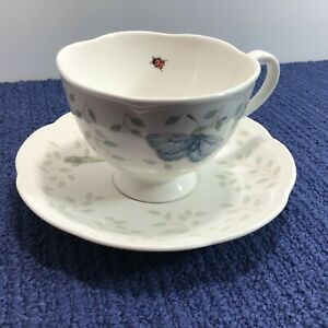 Lenox Butterfly Meadow Footed Cup & Saucer Ladybug Grasshopper Louise Le Luyer