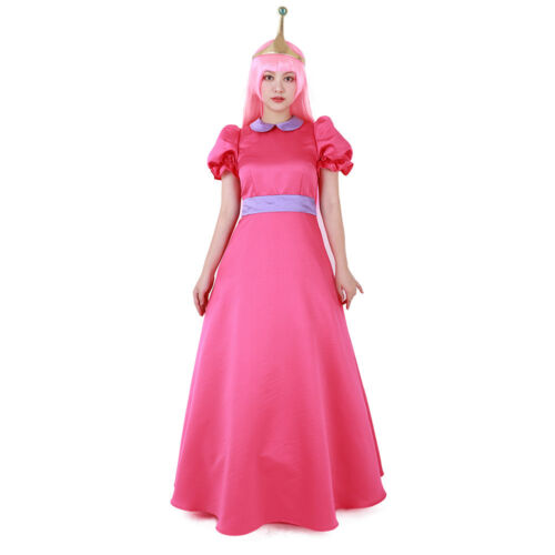 Adventure Time Princess Bubblegum Cosplay Costume Dress with Crown