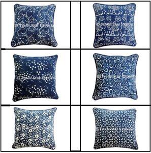 Indian Block Print Canvas Pillow Case 16x16 Indigo Home