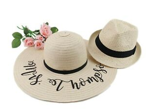 9a68e288e8c121 Personalised Floppy Beach Hat with Matching Men's Plain Trilby Hat ...