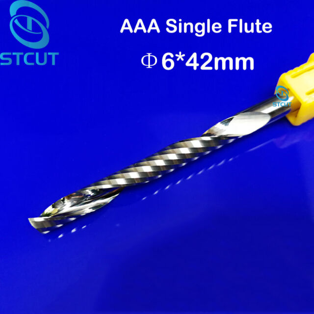 abs Left spin pvc Single Flute Plastic CNC endmill for Acrylic Down spiral