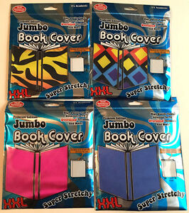 4-It-039-s-Academic-Jumbo-Solid-Pattern-Book-Cover-Lot-New-Stretchy-School-Supplies