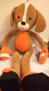 Stretchkins-Brown-and-Orange-Plush-Dog-Puppy-Stretchable-Hug-Toy-Teddy-Free-Post