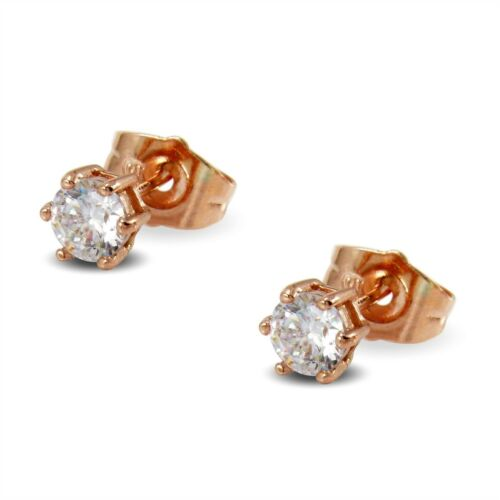 9ct Rose Gold Filled Womens Girls Stud Earrings White 5mm Crystals BE942