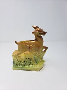 Vintage-McCoy-USA-Deer-Art-Pottery-Brown-Green-Bud-Vase-Planter-7-5-034-Glazed