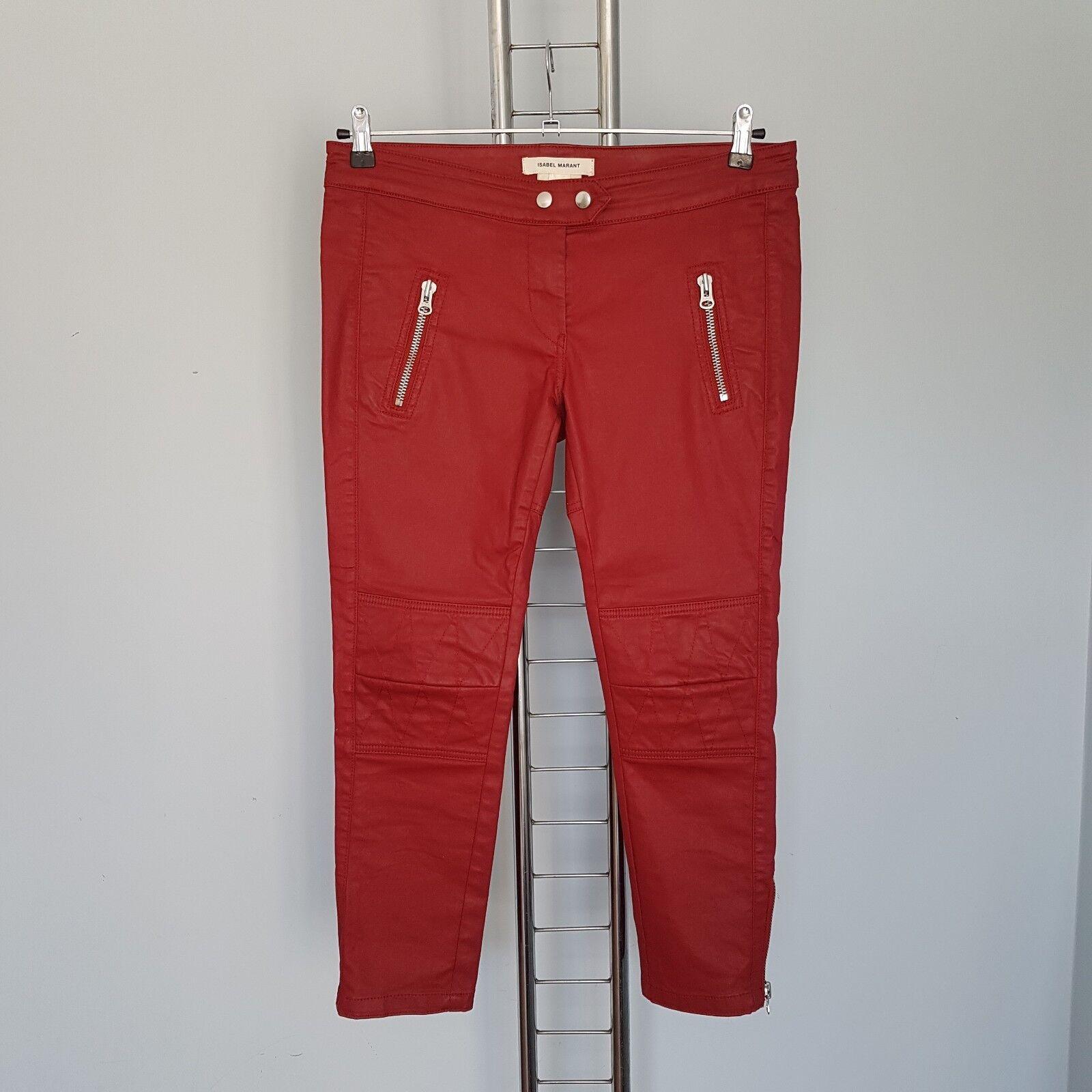 ISABEL MARANT pour h&m Rouge Motard Pantalon avec zip taille 40