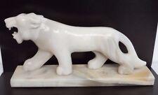 Vintage White & Amber Grey shade Marble Onyx Alabaster StoneTiger Statue Figure