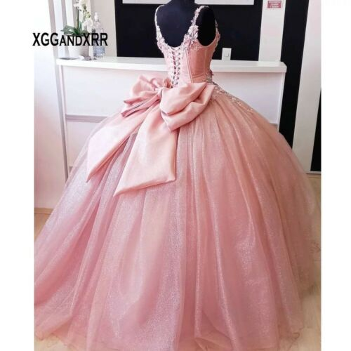 Pink Quinceanera Dresses Bow Sweet 15 Princess Dress Girl Prom 16 Ball Gown