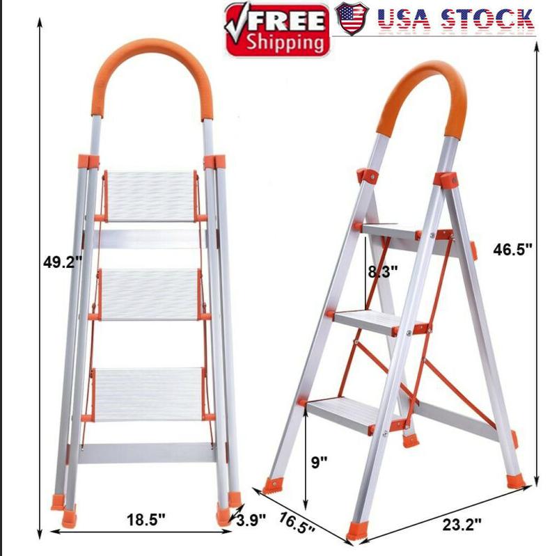 New 3 Step Aluminum Ladder Folding Steel Step Stool Anti-sli
