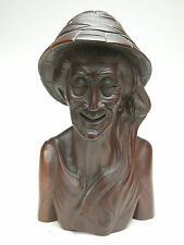 "Bali's Mahogany Wood Carving Art: Old Man. Amazing Work 14"" Tall. Unusual."