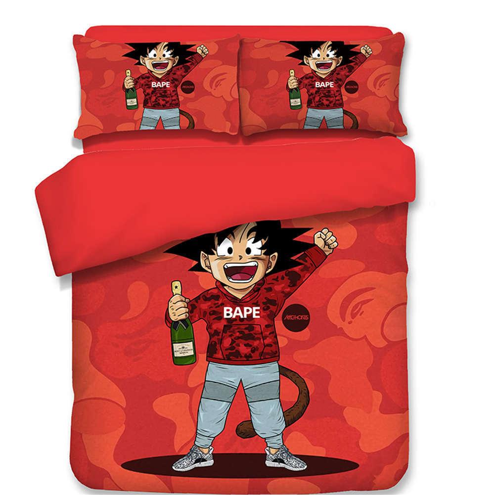 Dragon Ball Goku Character 3D Digital Print Bedding Duvet Quilt Cover Pillowcase
