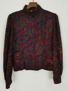 Vintage-Richards-Floral-Button-Up-Blouse-Shirt-Size-14-Paisley-Red-Shoulder-Pads