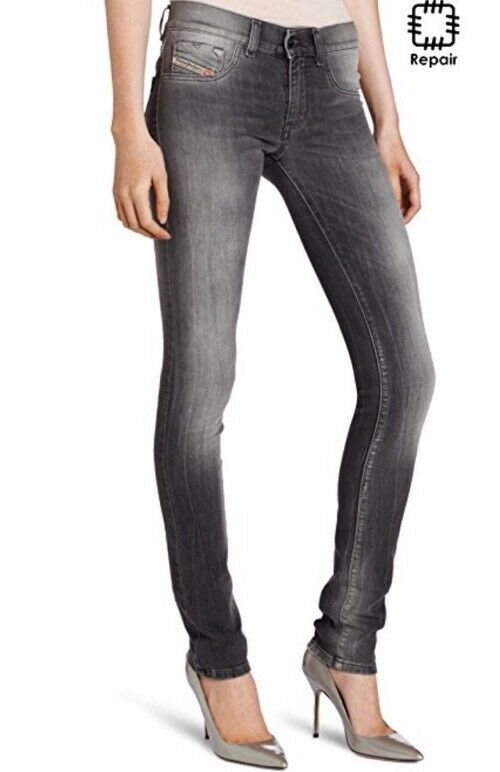 Diesel Livier Ladies Jeans Pants Slim Jegging Grey Wash 30 Waist Super Slim
