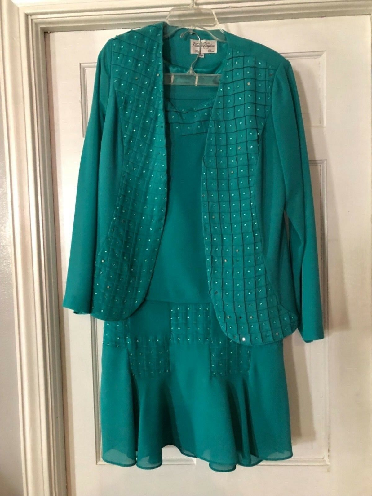Women's Tally Taylor Teal Three Piece Skirt Suit Size 10
