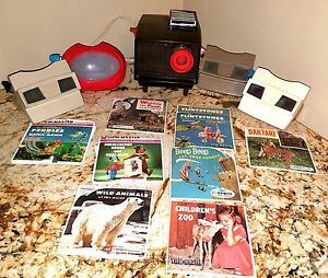 Vintage 4 Handheld View-Masters and View-master Projector with picture reels