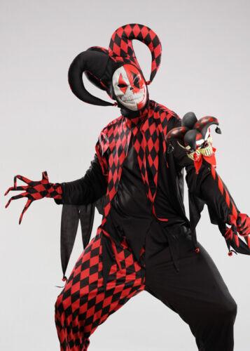 Mens Gothic Crazed Killer Clown Jester Costume