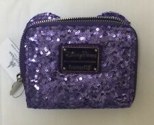 Disney Loungefly Minnie Mouse Purple Potion Sequined Backpack Wallet