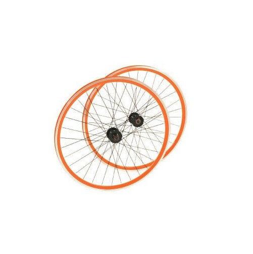 Point Laufrad Satz SINGLE SPEED - schwarz orange - 700C - 32 Loch SV ungeöst