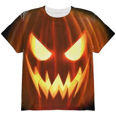 Pumpkin Face Kids T Shirt Halloween Costume Scary Fancy Dress Top Xs-XL
