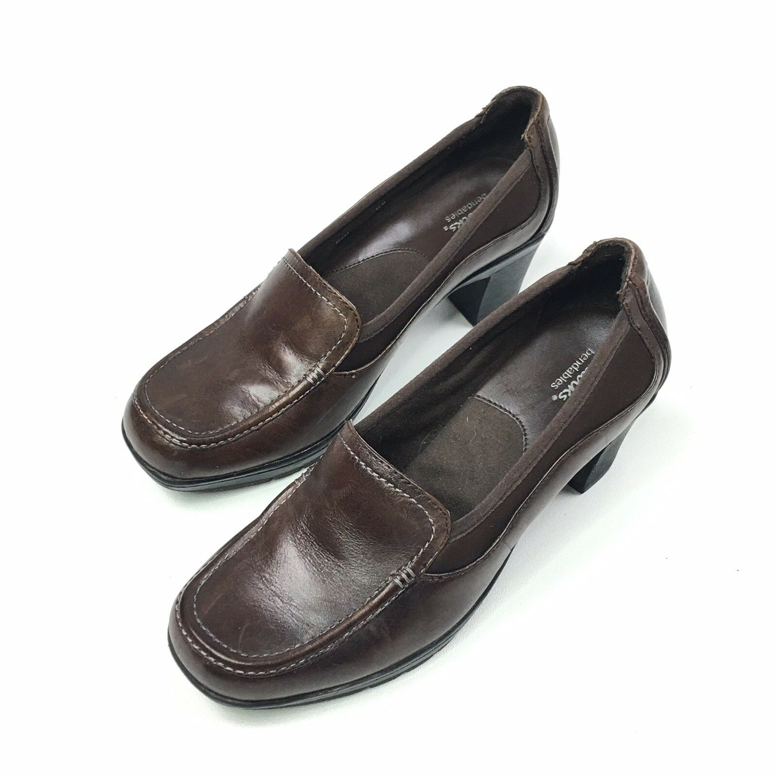 Clarks Bendables Brown Leather Loafers Slip On shoes 80428 Womens Size 6.5 M