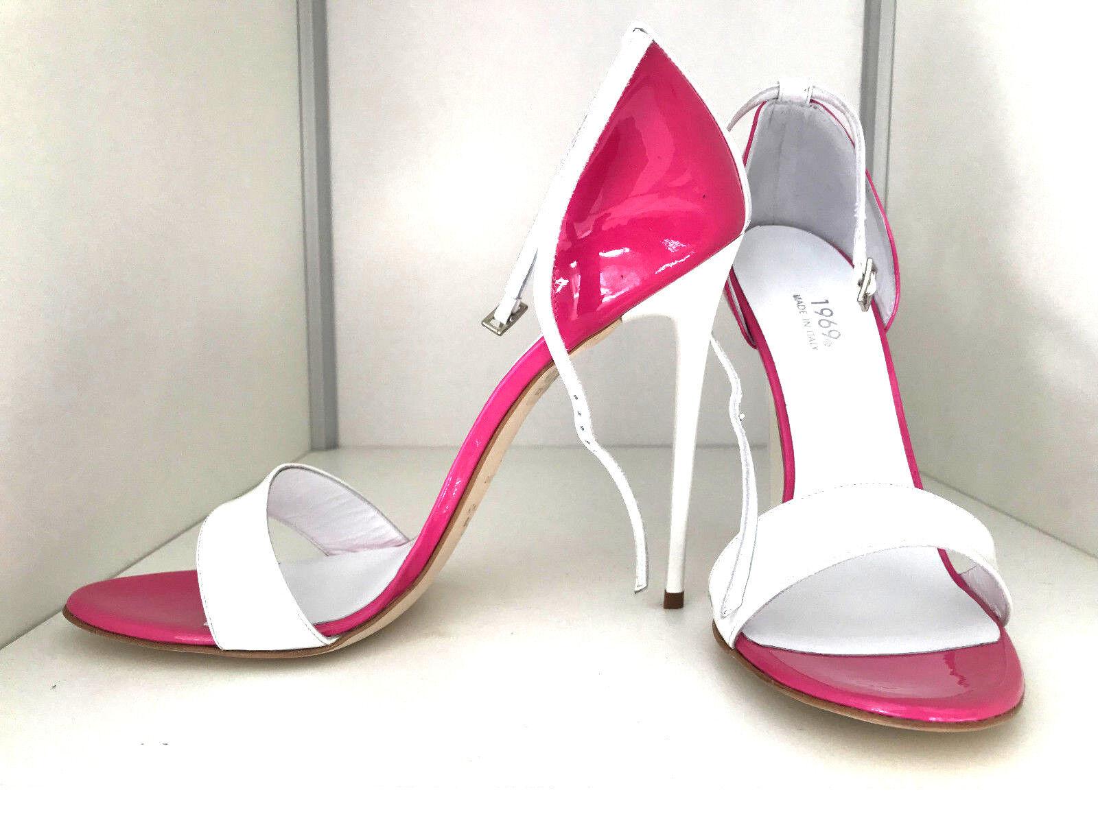 1969 Pumps 42 43 14 cm Sexy pink White leather leder fetish sandals high heels