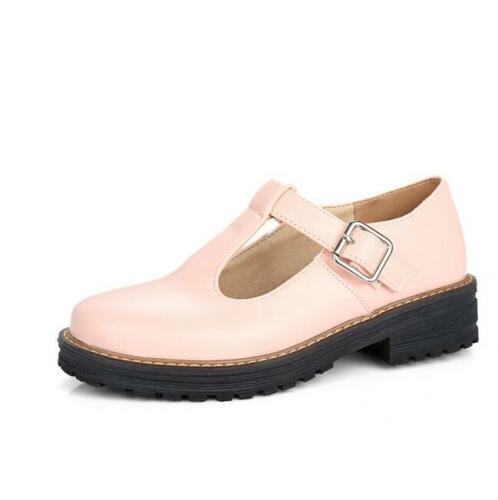 Womens Creepers Sweet T-Strap Platform Mary Janes Chunky Heels Round Toe Shoes x