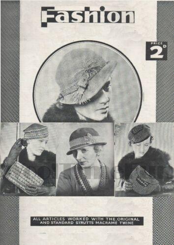 Vintage crochet pattern 1920//30s Lady/'s  4 x Hats /& 2 x evening Bags
