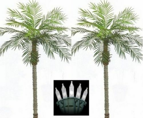 2 ARTIFICIAL 7' PHOENIX PALM TREE PLANT POOL PATIO DATE SAGO & CHRISTMAS LIGHTS