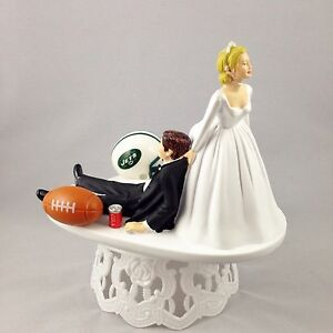 Funny Cake Decorations Uk : Funny Wedding Cake Topper Football Themed New York Jets ...