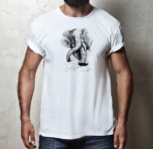 ELEPHANT STAMPEDE ANIMAL CHARGE ATTACK 100/% cotton WILDLIFE NATURE T-shirt Tee