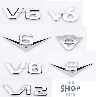 Chromzeichen V6 V8 V12 Logo für VW GTI Plus R Jetta Passat Alltrack Phaeton NEU
