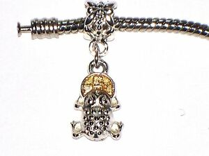 LUCKY FROG WITH COIN CHARM FITS EUROPEAN BRACELETS - BUY 2 GET 1 FREE