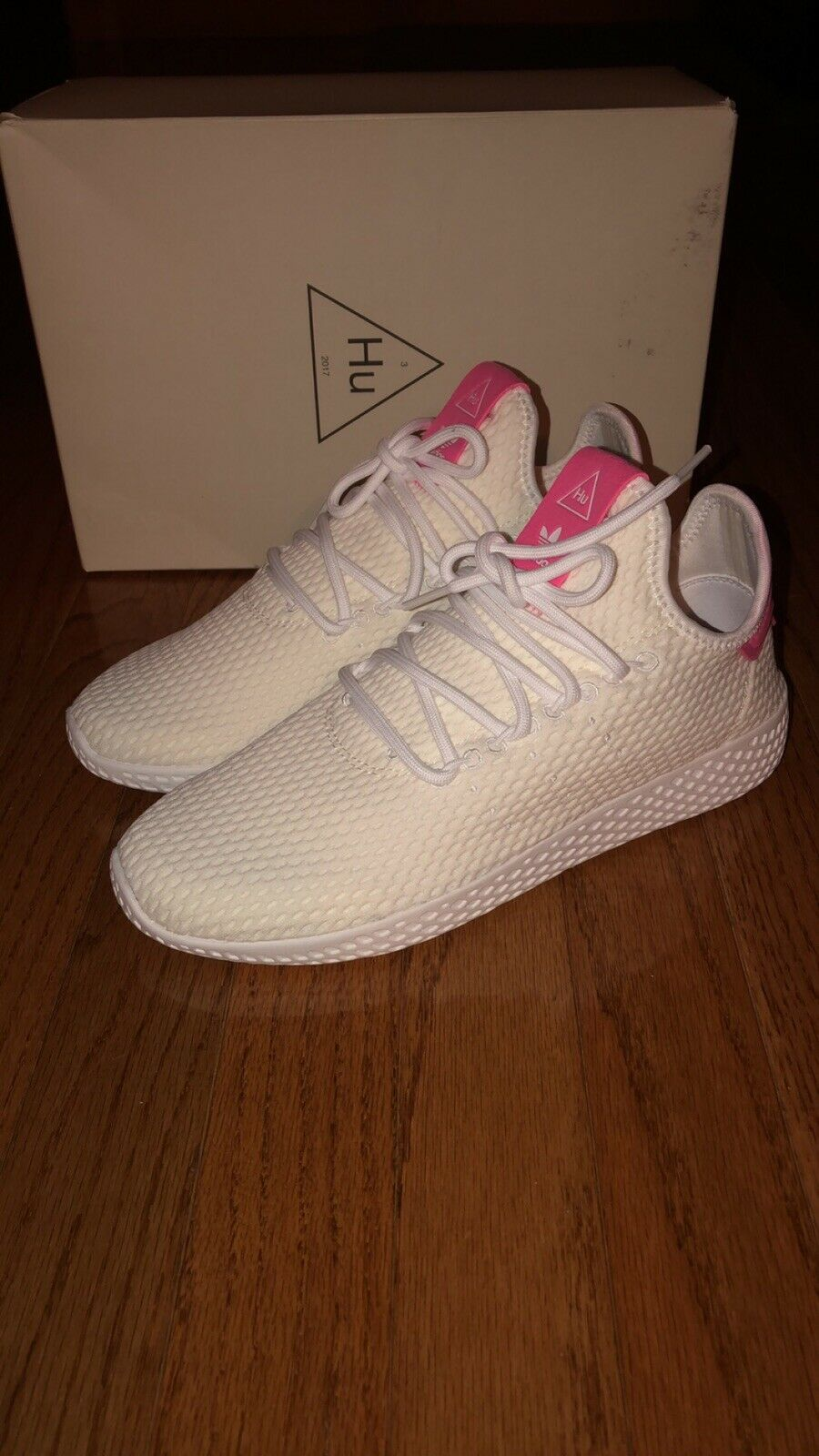 Pharell Williams Tennis Hu size 7 White Pink
