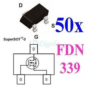 50x-SOT23-FDN339AN-3A-20V-N-Channel-MOSFET-TTL-Input-for-DC-DC-and-Load-Switch