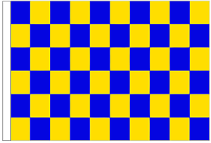 Royal Blue And Yellow Check 5/' x 3/' Large Sleeved Flag