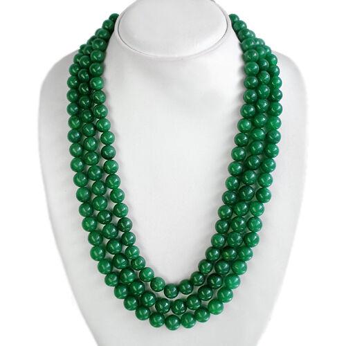 BRILLANT FRAPPE 1018.00 cts Natural 3 Strand Vert Émeraude Perles Collier