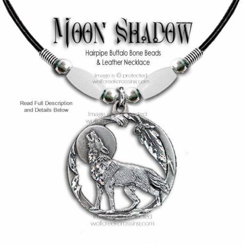 FREE SHIP #W/' WOLF MOON SHADOW BUFFALO BONE CHOKER NECKLACE WOLVES WESTERN ART