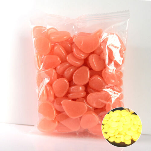 100x Glow In The Dark Pebble Stones Home Garden Walkway Aquarium Fish Tank Decor