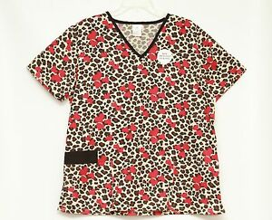 Bobbie-Brooks-Womens-Short-Sleeve-Animal-Print-Scrubs-Top-Lot-of-3-Size-X-Large