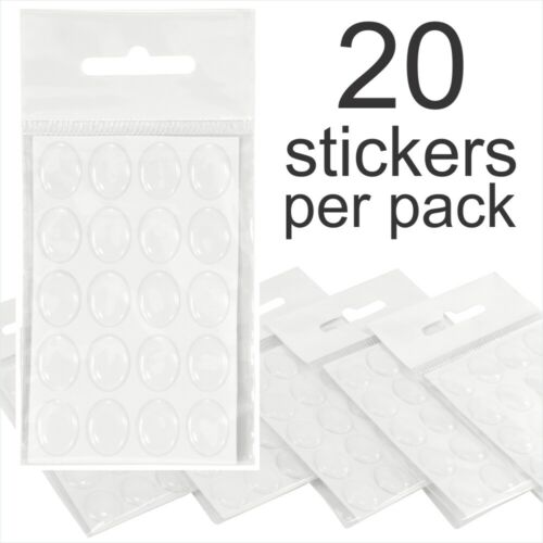 """25x18mm 1/"""" inch x 3//4/"""" Oval Clear Stickers Domed Gel Resin Epoxy Self Adhesive"""