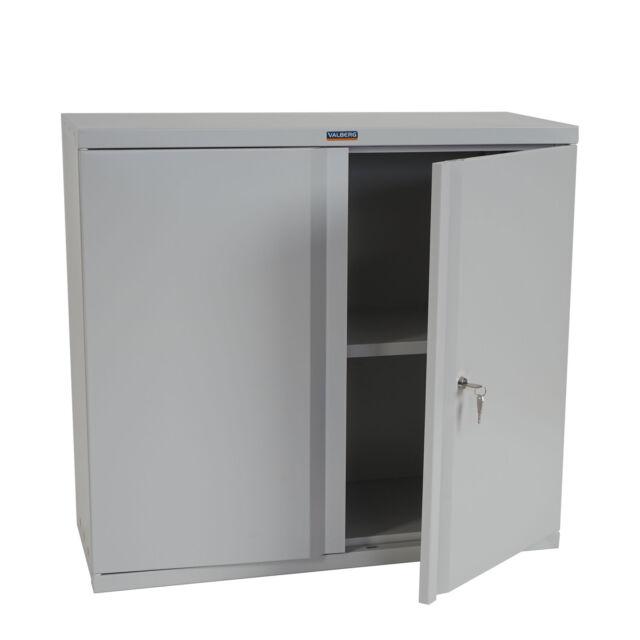 Aktenschrank Valberg H330, Metallschrank Büroschrank, 2 Türen 84x92x37cm, grau