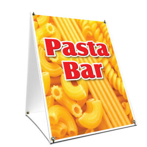 A-frame-Sidewalk-Sign-Pasta-Bar-With-Graphics-On-Each-Side