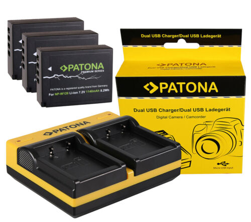 inkl 3 Premium Patona Akku NP-W126 Dual doubles Ladegerät für Fujifilm X-E3 s