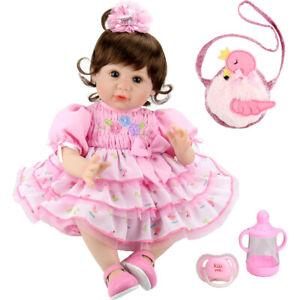 New 22/'/' Handmade Lifelike Baby Girl Silicone Vinyl Reborn Doll Newborn Gift Toy