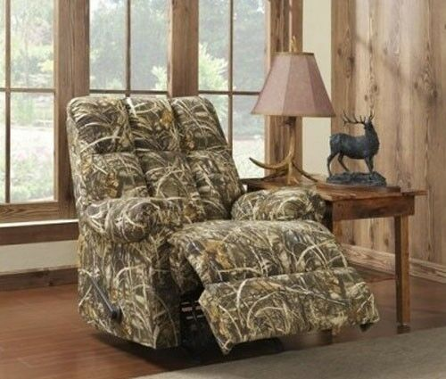 Camouflage Rocker Recliner Man Cave Cabin Chair Camo Furniture Hunting  Mancave