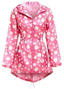 super quality sale uk wide selection of colors Details about LADIES WATERPROOF DAISY JACKET bright pink hooded raincoat  floral camping parka