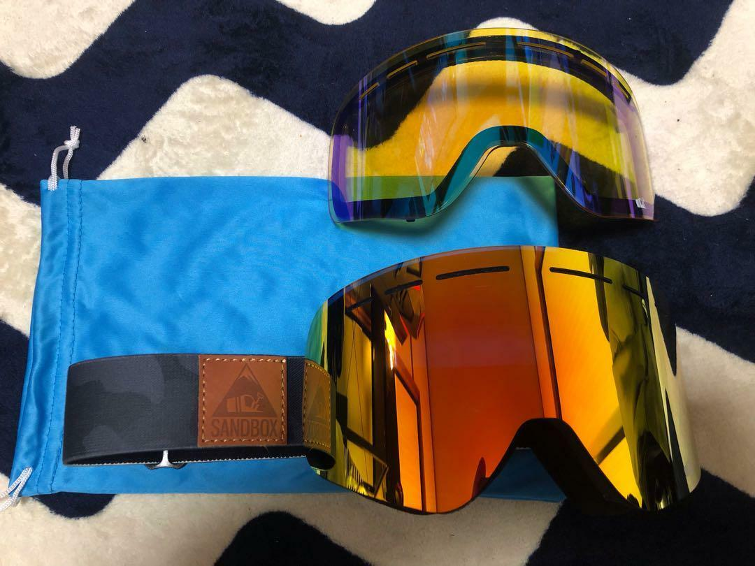 SAND BOX GOGGLES WITH SPARE LENSES MIRROR SNOW BOARD SKI WINTER SPORTS RARE F S