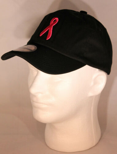 Breast Cancer Ribbon Baseball Cap Style Hat Choose Pink White Black